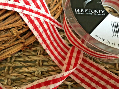 Bows Ribbon and Lace~Berisfords Rustic Gingham Ribbon Shade 15 Red Choose Width