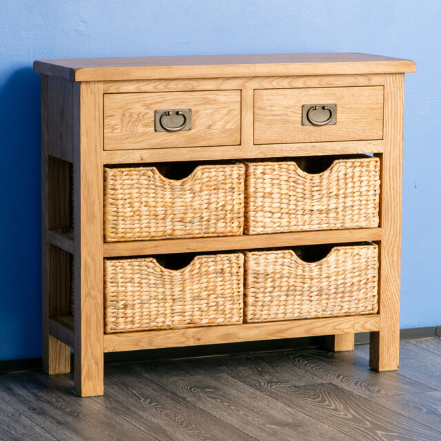 huge discount 044d0 76565 Large Solid Oak Side Board Telephone Table Wicker Baskets Furniture