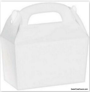 WHITE-Party-Supplies-BOXES-Birthday-Decoration-Fiesta-GABLE-Loots-x12-Goody-Bag