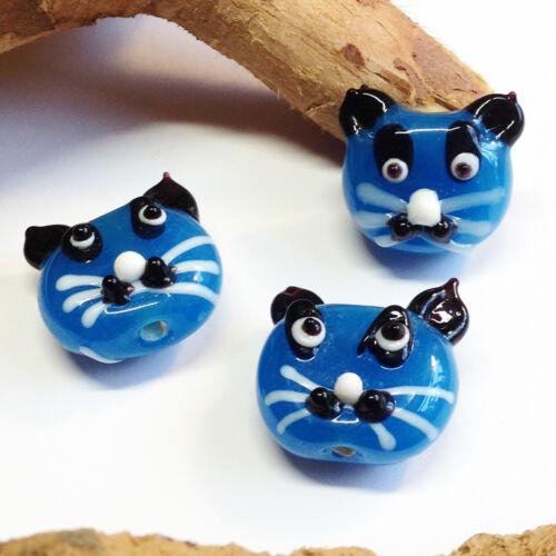 2 blaue Lampwork Glas Katzenperlen handmade  22 x 20 mm Katze Ohrringe basteln