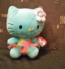 Hello Kitty TY Beanie Babies türkis Blümchen-Tüll-Rock Plüsch Stofftier Katze OV