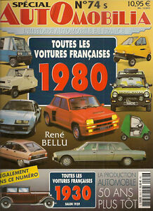 AUTOMOBILIA-74-S-TOUTES-LES-VOITURES-FRANCAISES-1980-et-1930-SALON-1929