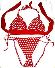 Sz S/M - NWOT Sunsets Fusion Red Oblong Polka Dot Halter Bikini Swimsuit