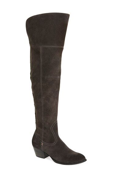 DOLCE VITA Silas Grey Suede Leather Over the Knee Western Style Boots SZ 6 NEW