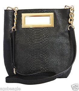 Michael Kors Bag 35F4GBKM3D MK Berkley MD Messenger Embossed Leather Black