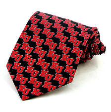 Kansas Jayhawks Men's Silk Necktie Ralph Marlin College University Black Tie New