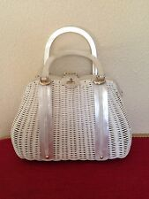 Vintage Faux Wicker Straw and White Lucite Purse Handbag 50s/60s type Tropical