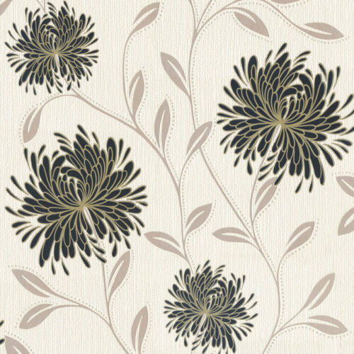 Flowers Wallpaper Floral Textured Vinyl Glitter Cream Silver Gold Black Dahlia