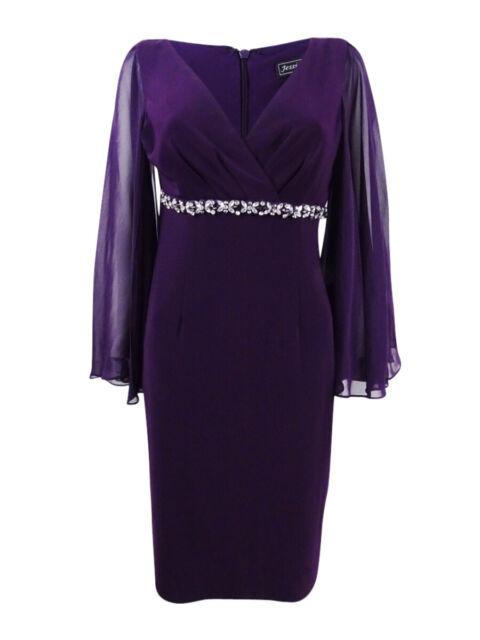 793faa389e333 Jessica Howard Womens Purple Embellished Surpllice Capelet Dress 14 ...