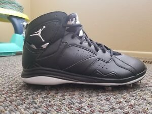 99d090bef42 Nike Air Jordan VII 7 Retro Metal Baseball Cleat Black White SZ 13 ...