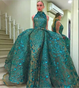 Details About Luxury Detachable Train Mermaid Lace Birthday Party Dress Prom Evening New Gown