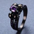 Purple Amethyst Skull Claw Wedding Ring Womens Sz 6-10 CZ 10Kt Black Gold Filled