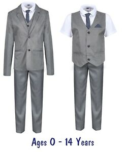 Boys-Suits-Grey-5-Piece-Boys-Wedding-Suit-Page-Boy-Party-Prom-9-mths-to-14-Years