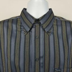 Faconnable Mens Blue Beige Striped Dress Button Shirt Size Large L