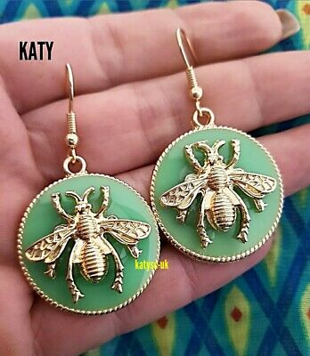 Gold Plated Bumble Bee Circle Button Pastel Mint Green Studs Earrings