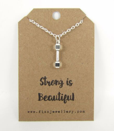 """Strong is Beautiful Dumbell Silver 18/""""  Message Card Necklace New Encouragement"""