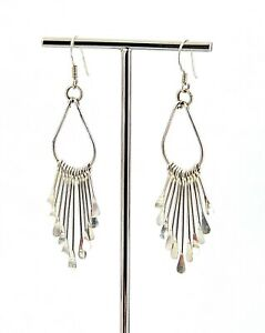 Vintage-Sterling-Silver-Dangling-Graduated-Fringe-French-Wire-Earrings