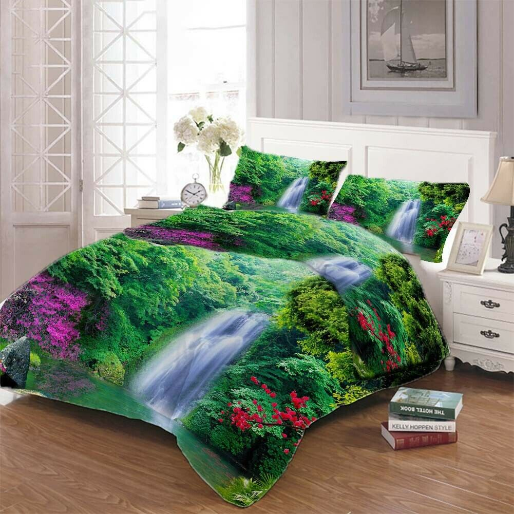 lila Tree Fall 3D Printing Duvet Quilt Doona Covers Pillow Case Bedding Sets