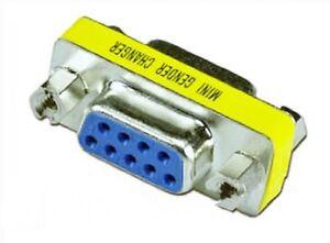 Adapter Gender Changer 9-pol 2x Buchse D-Sub seriell Kupplung COM-Port RS-232