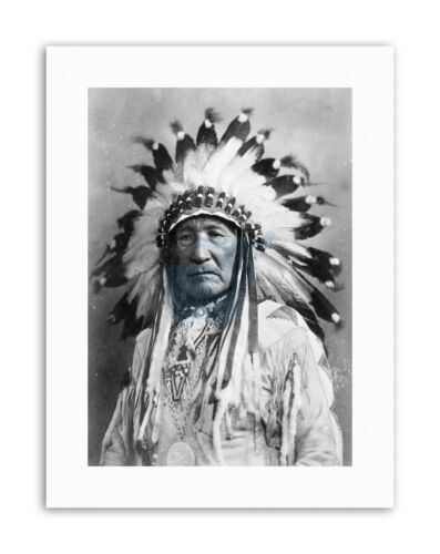 NATIVE AMERICAN INDIAN MOUNTAIN CHIEF Vintage Canvas art Prints