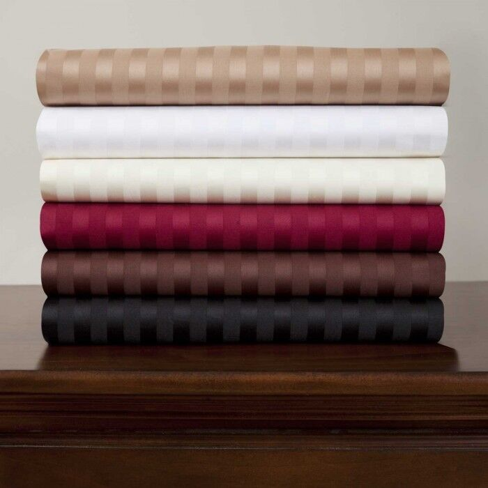 Branded 1 PC Fitted Sheet 1000 TC Egyptian Cotton All Striped colors US Cal King