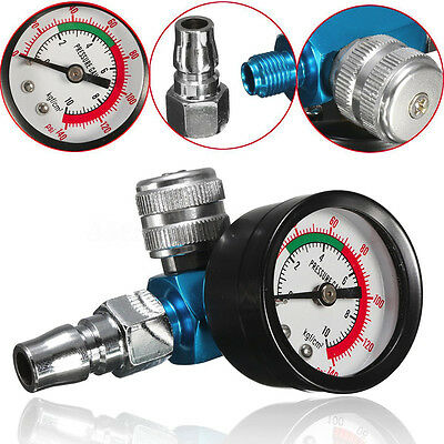 "1/4"" Mini Air Regulator Valve Gun Tail Pressure Gauge + Nozzle For Spray Gun"