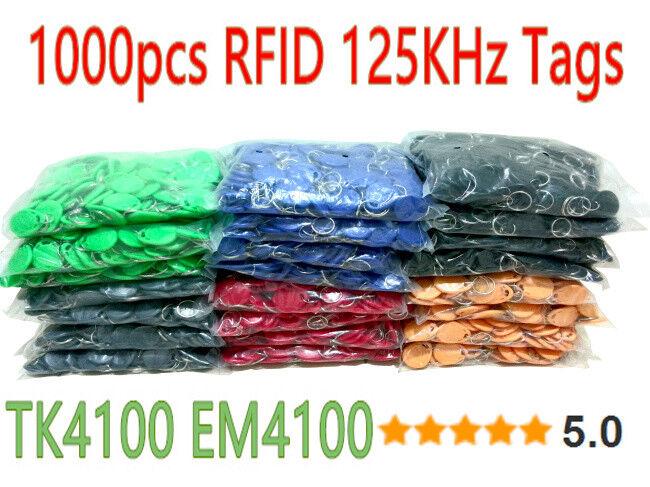 8 Colors 1000 un. lot RFID Tag 125khz TK4100 Token clave Dijes etiquetas de RFID para el acceso
