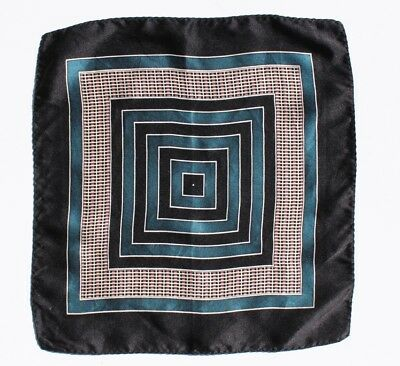 Vintage Black, Teal, & White Printed Smaller Silk Pocket Square / Handkerchief