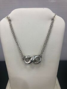 Tiffany Co Sterling Silver Infinity Pendant Double Chain Approx 16 Necklace Ebay
