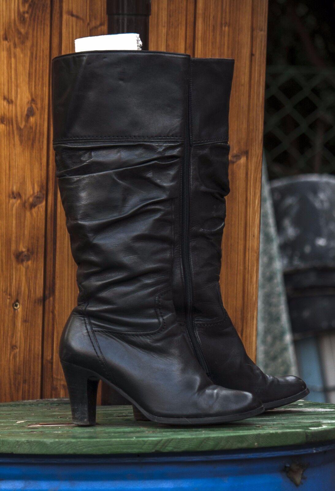 Gabor Echtleder Stiefel Gr. 38,5 bzw. 5,5, schwarz,High Heels