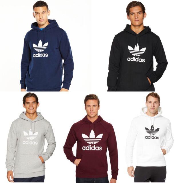 Mens Adidas Hoodie Trefoil Sweatshirt Pullover Navy Black Maroon Grey S M L XL