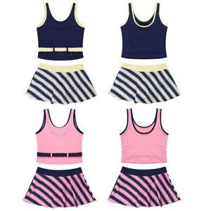 Mädchen Bikini Set UV-Schutz Schwimmanzug Kinder Tank Tops + Gestreifter Rock