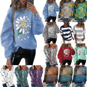 Womens Long SLeeve Sweatshirts Casual Baggy Hoodies Printed Tops Jumper Pullover