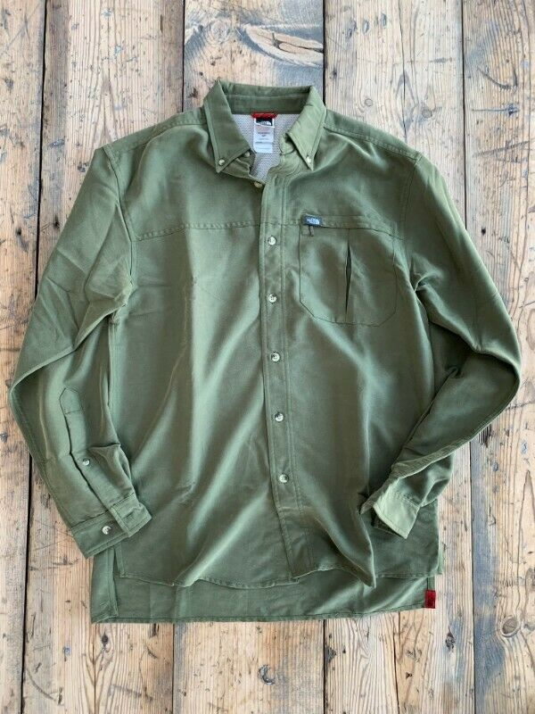 The North Face - Mens Long-Sleeve Shirt - Size Small - Dark Green - NEW - Loose Fit