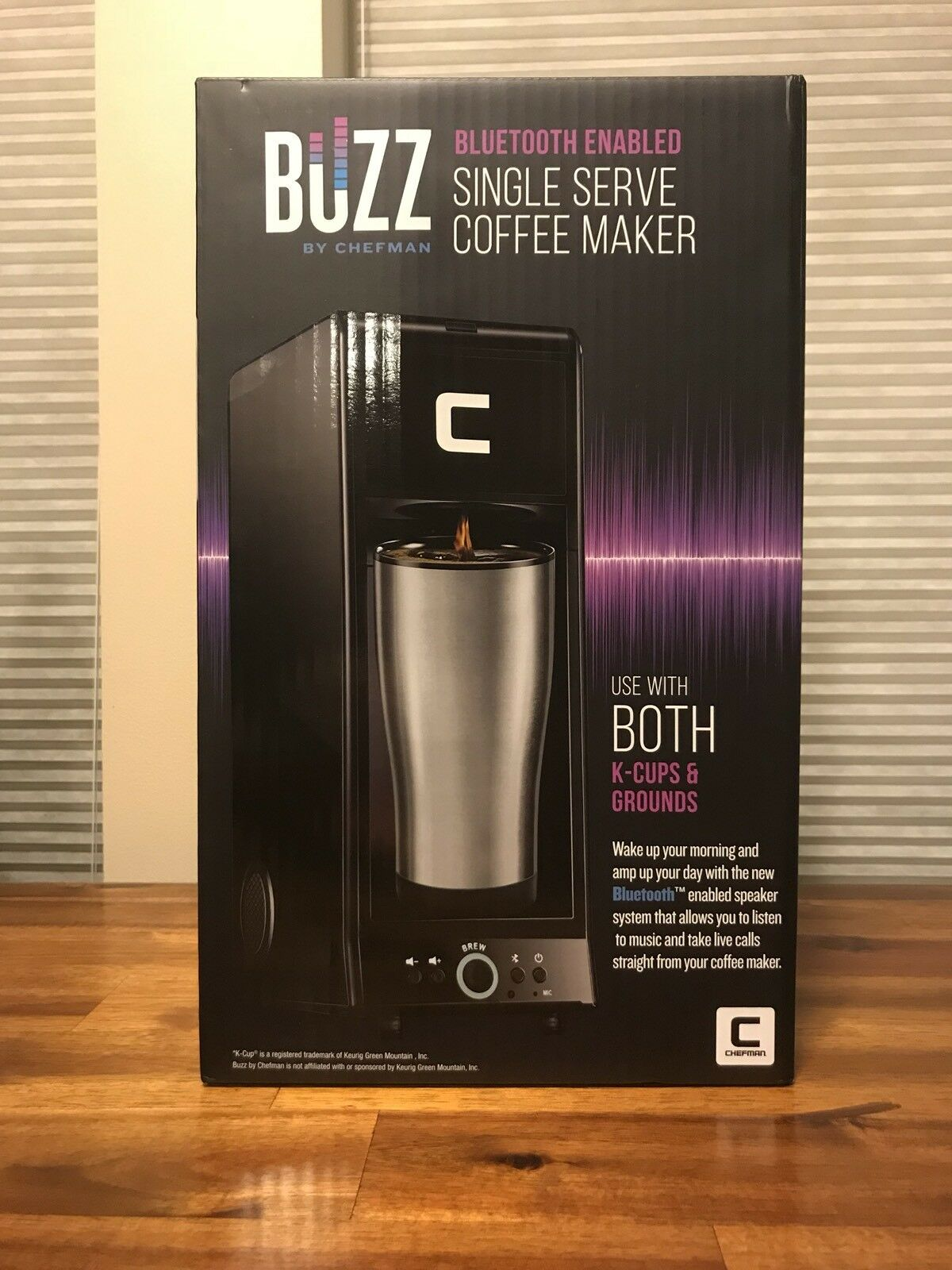 Coffee Maker K Cup Buzz Brewer blueetooth Enabled Speaker Single Serve Plastic