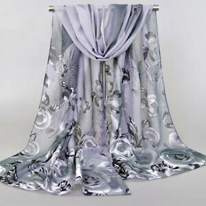 Ladies-Chiffon-Rose-Flowers-Feather-Printed-Scarf-Shawl-Scarves-Acc-DIY-Gift-Hot