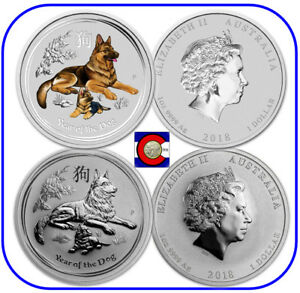 2018 Australia PROOF Colorized Lunar Year of the Dog 1oz SIlver $1 Coin w// COA