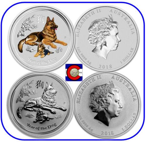 2018 Lunar Australia Dog Silver 1oz Colorized /& 1oz Bullion Coins