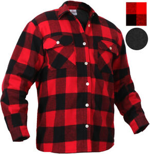 Red Plaid Flannel Shirt FLEECE Lined Extra Heavy Brawny Buffalo ... c56fc68a1b4
