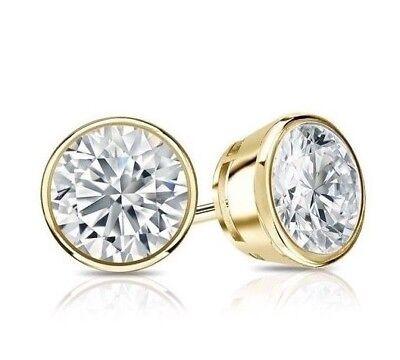 0.60CT Round Simulated Diamond 14K Yellow Gold Screwback Earrings