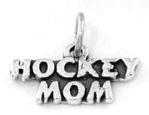 "SILVER HOCKEY MOM CHARM W//18/"" BOX CHAIN NECKLACE"