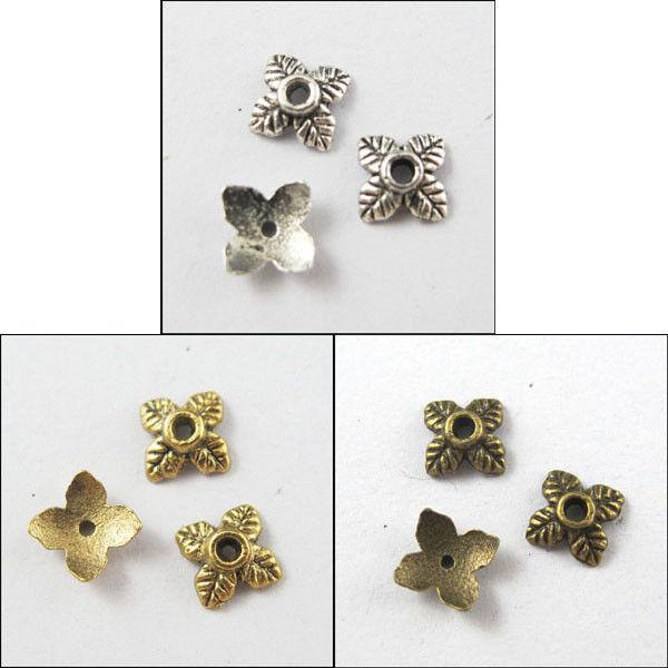 300Pcs Antiqued Silver,Gold,Bronze Tone Tiny-Leaf End Bead Caps 6mm P814