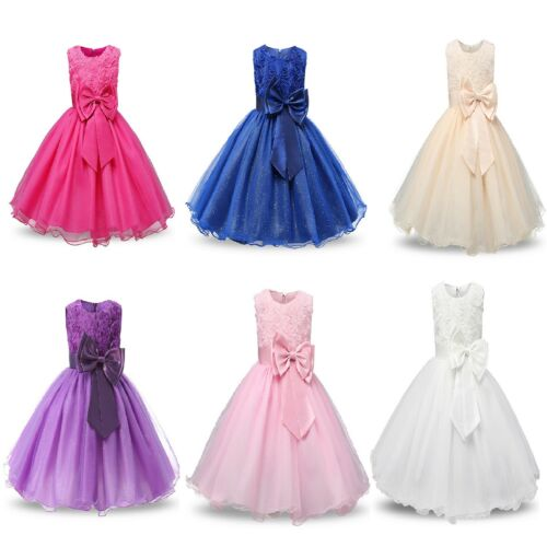 Fabulous White Classic Style /'Nancy/' Occasion Flower Girl Party Dress with Bow