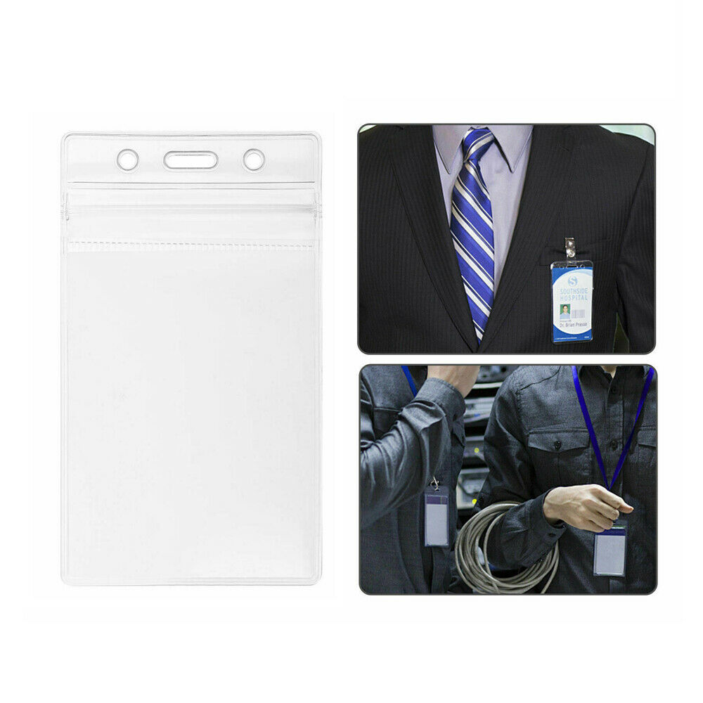 10Pc ID Card Holder Clear Plastic Badge Resealable Waterproof Business Case