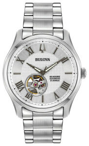 Bulova-Men-039-s-Wilton-Automatic-Open-Heart-Window-Silver-Tone-42mm-Watch-96A207