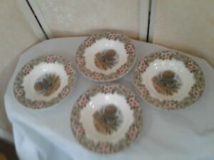 4-Myott-Churchill-Thanksgiving-Turkey-Soup-Bowls-Brown-Pink-Made-Columbia-New