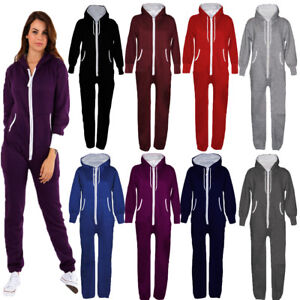 Unisex-Ladies-Men-039-s-Plus-Size-All-In-One-Plain-Hooded-Zip-Up-Playsuit-Jumpsuit