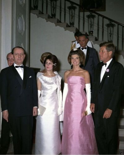 President and Mrs Kennedy with French Culture Minister New 8x10 Photo John F