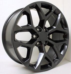 New Set 22 Inch Black Snowflake Wheels Rims Fits 2000 18 Gmc Sierra