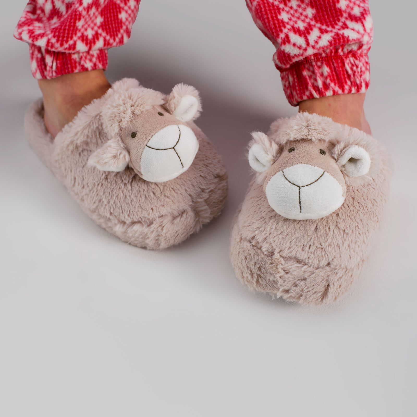 Zhu-Zhu Furry Animal Head Slippers - Soft Plush - Sheep Lamb Novelty Slippers